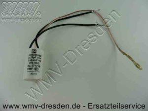 Ersatzteile für AEG-Elektrowerkzeuge, Kondensator rund, Ø 19,8 mm, Länge 35 mm, mit 2 Anschlusskabeln schwarz und 1 Massekabel für Polschuh - (Art.Nr. 4931271718-T01)